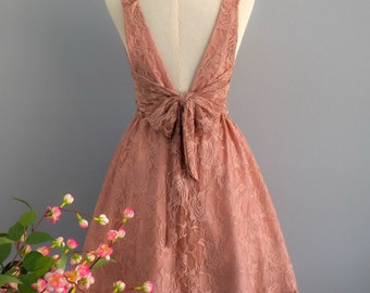 Party V Backless Dress Pinkish Brown Lace Dress Brown Lace Party Dress Lace Prom Cocktail Dress Brown Lace Bridesmaid Dress Wedding XS-XL