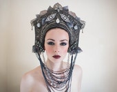 Hematite Grey & Silver 'Twilight Queen' Beaded Crystal Couture Headdress