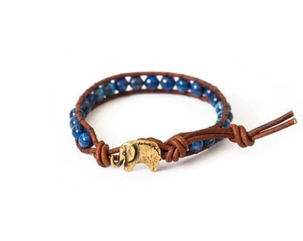 the Lucky Elephant Button Leather Wrap Bracelet, Lapis Lazuli - the Lucky Elephant Exclusive