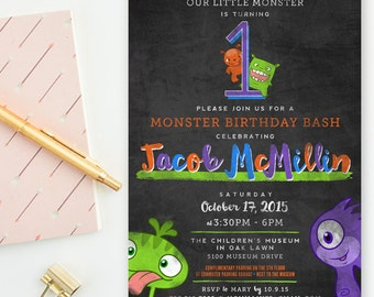 Little Monster - Orange, Blue & Green Chalkboard - Boy Birthday Party Invitations