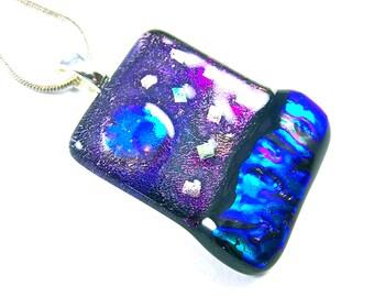 "Sea Sky Moon Stars Ocean Landscape Pendant - Dichroic Fused Glass - Purple Blue Cobalt Mauve Tie Dye Dichro Ripple Textured - 1"" Inch 25mm"