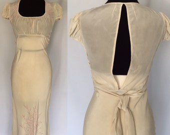 1930s Ivory Silk Bias Cut Dressing Gown
