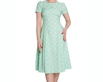 Brand New 1940s Vintage Inspired Pastel Mint Green Polka Dot Tea Dress