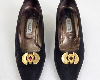 Original Vintage 1960s Black Bally Block Heels Size 5.5 with Box