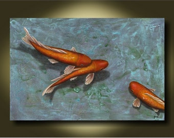 Aqua Pura....24x36 Beautiful Original Koi Painting....Home Decor...Office....Commercial space