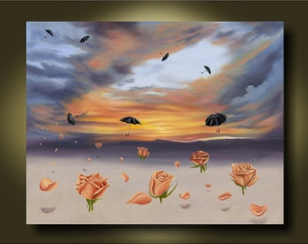 Rose and Umbrella ..Swept Away...Canvas or Paper Print...Surrealistic Painting
