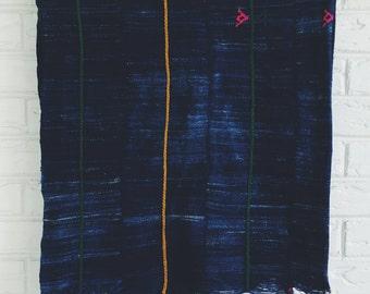 Vintage Indigo Mudcloth Throw - Bohemian Decor - Lightweight Boho Blanket