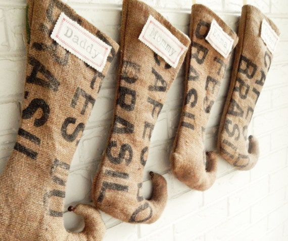 Burlap Elf Christmas Stockings made from Coffee Sacks - Personalized Rustic Holiday Decor - Industrial Christmas Decor