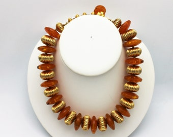 Vintage Necklace Faux Amber and Gold Beads