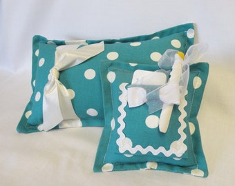 Girls Tooth Fairy Pillow with Clothespin Doll and Accent Pillow - Teal and White Polka Dot Gift for Girls or Gift Card Holder