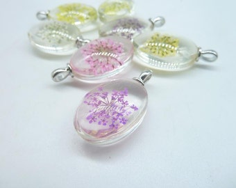 4pcs Mixed  18x25mm Oval Handmade Dried Flowers Glass Cabochon Pendant Charms With White K bail