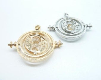 2pcs 38x40mm The Time Turners Time-Turner Hourglass Pendant,Timepiece Pendant,Time Necklace,Hourglass Pendant-You Choose Color
