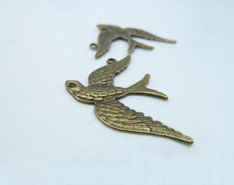 15pcs 33x35mm Antique Bronze Swallow Bird Charm Pendant c2917
