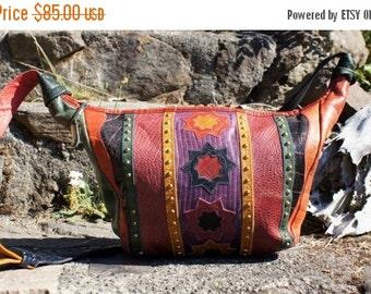 80's Sharif  Color Block Western Studded Hobo Bag Purse
