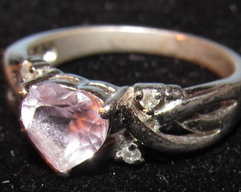 Vintage Sterling Silver with Amethyst Heart Shaped Stone Ring Size 8