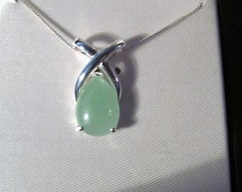 Vintage Sterling Silver Nephrite Jade Stone