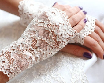 Wedding gloves, Ivory lace gloves, French lace gloves, opera gloves, Ivory fingerless gloves.