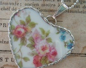 Fiona & The Fig Victorian-Pink Roses-French Limoges Broken China Soldered Necklace Pendant Charm-Jewelry