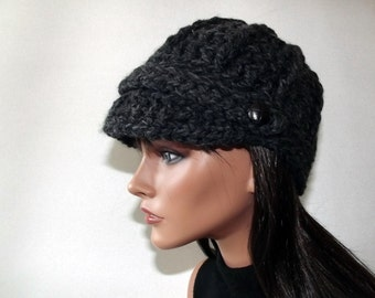 Crochet Beanie Newsboy Charcoal Gray With Tab Button Accent Sports Cap