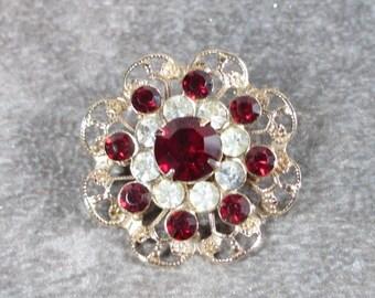 Sale Pre Holliday Vintage Red and Clear Rhinestone Pin/Brooch, Rhinestone Brooch
