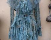 "20%OFF RESERVED  bohemian gothic lagenlook gypsy boho hippy  mermaid lace jacket..medium to 42"" bust"