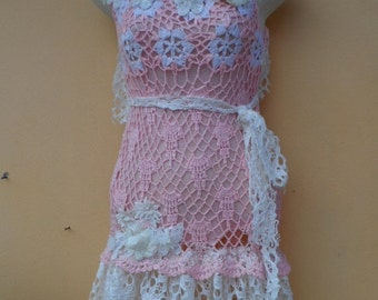 """20%OFF pink crochet top with lace ruffles..small to 36"""" bustFREE SHIPPING"""