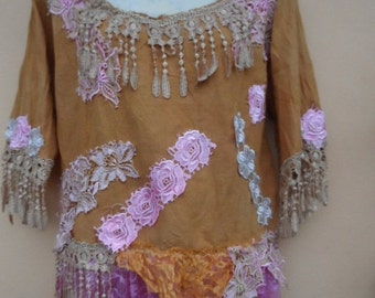 """20%OFF vintage embellished broderie anglaise top with lace and shabby roses..medium to 42"""" bust...."""