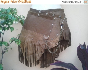"""20%OFFplusREFUND SHIPPING 20 Percent OFF..Burning Man leather belt with stud and chain detail...32"""" to 40"""" waist or hips.."""