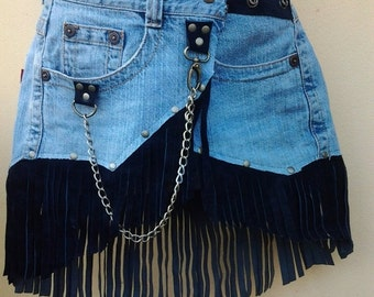 """20% OFF bohemian gypsy leather and denim skirt belt with dog clip & with pocket ...24'' to 30"""" hips or waist..."""
