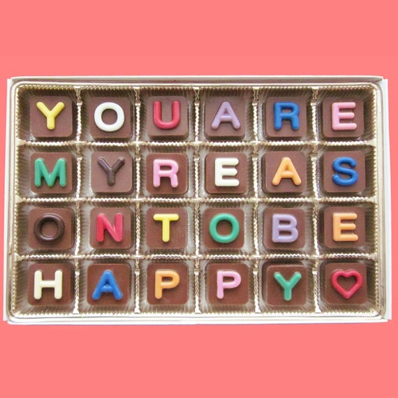 Anniversary Gift for Boyfriend Girlfriend Gift for Fiance Gift for Man Love You Are My Reason To Be Happy Jelly Bean Cube Chocolate Letter