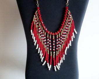 Native American necklace, red, gold, cream and black