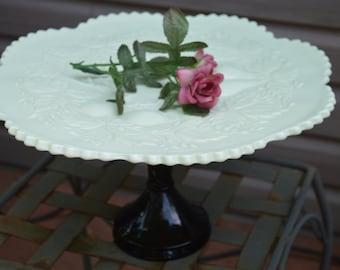 White and Black Scalloped Pedestal Plate-Raised Fruit Pattern