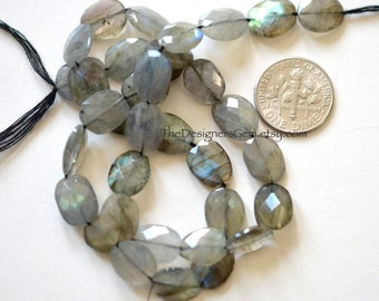 Labradorite Flashing Faceted Oval Coin 11 x 9mm - 1/2 STRAND