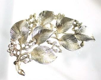 Lisner Silver Brooch, Leaf Berry Brooch, Designer Jewelry, 1960s, Vintage Jewelry
