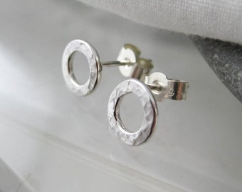Sterling Silver Hammered Hollow Circlar Ear Studs 8mm - Handmade By CMcB Jewellery - Free UK Postage