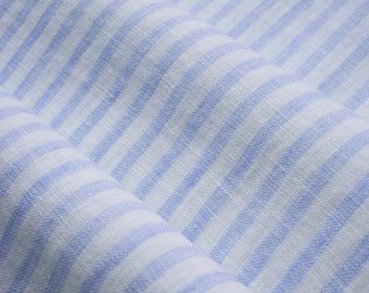 Linen fabric  with stripes-- softening--pure linen--natural-white and light blue