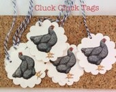 Set of 12 pre-strung Hen Rooster Tags