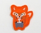 Hip Fox Feltie - Full Body Fox Felt Applique - Fox Embroidered Felt Applique - Fox Applique-UNCUT (Set of 4)