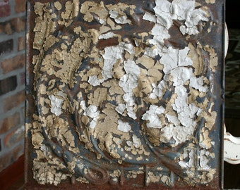 "Antique Ceiling Tile - 12""x12"" - Chippy Tan and White Paint -- Swirling Vines Design"