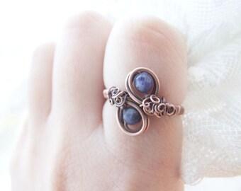 Night Ring, Elvish Cobalt Ring, Dark Blue Gemstone Ring, Elvish Jewelry, Blue Fantasty Night Ring