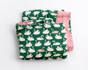 Baby girl swaddle blanket - organic baby swaddle - SWANS swaddling blanket