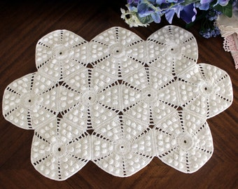White Vintage Doily, Crochet Doilies, Ornately Crocheted Doily, Vintage Table Linens 13549
