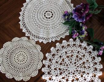 Crochet Doilies Lot, 3 Beautiful Handmade Doily Assortment in White and Cream 13705