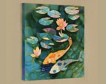 ORIGINAL Painting Mixed Media painting ORIGINAL SILK Painting Fish Pond Lotus Painting  Handpainted Silk Wall Art