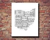 Ohio Print, Ohio Map, OH, Typography, Art, Wedding, Personalized, Print, Custom, Cleveland, Columbus, Cities, Housewarming Gift, Travel Map