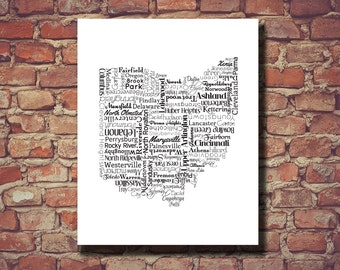 Ohio Map Etsy - Map of ohio with cities