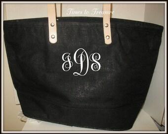 Burlap Beach Bags Personalized Monogram  Beach Bag Wedding Brides