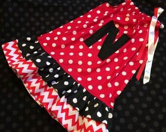 Girls Ruffle Pillowcase Dress - Nebraska - Polka dots chevron red white black - Pick your size 18 24 months 2 3 4 5 6 7 8 9 10 years