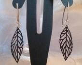Dainty black leaf sterling earrings