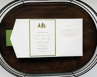Tree Wedding Invitation - Pocket Wedding Invitation - Mountain Wedding Invitation - Watercolor Wedding Invitation - Style W-02 - SAMPLE